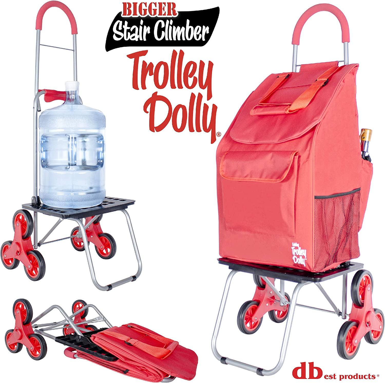 Red Shopping Grocery Foldable Cart Condo Apartment dbest products Stair Climber Trolley Dolly 2