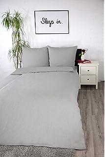 Biber Bettwäsche 135 x 200 Grau Streifen Baumwoll Warm Winter Elegant Hellgrau