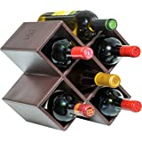 Kaydian Krafts Countertop Wine Rack - 6 Bottle Decorative Tabletop Wine Bottle Holder - No Assembly Required - Espresso Brown