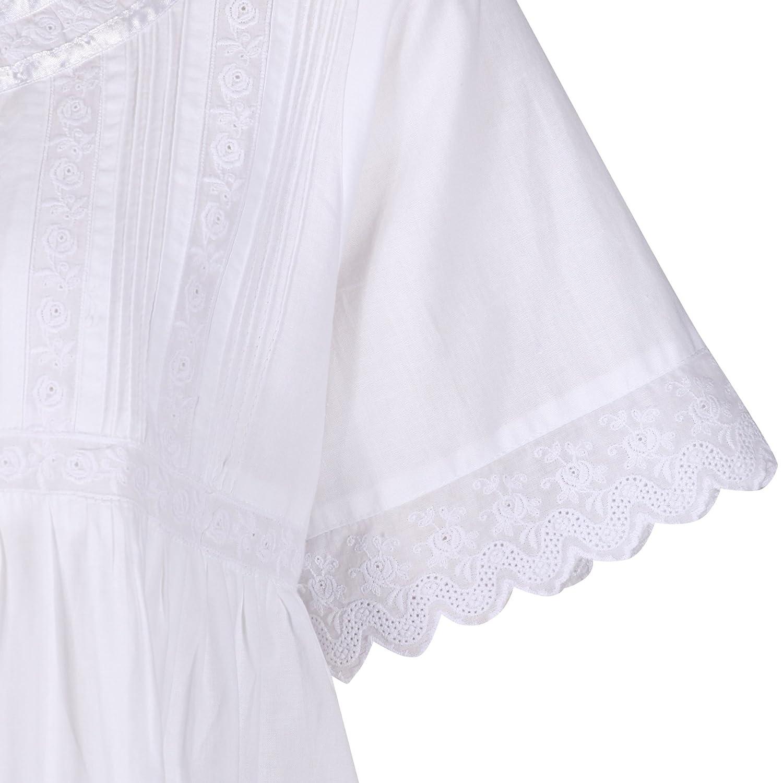 The 1 for U 100/% Cotton Donna Camicia da Notte con Tasche Stile Vittoriano BN1 M Nicole Bianco Manica Corta