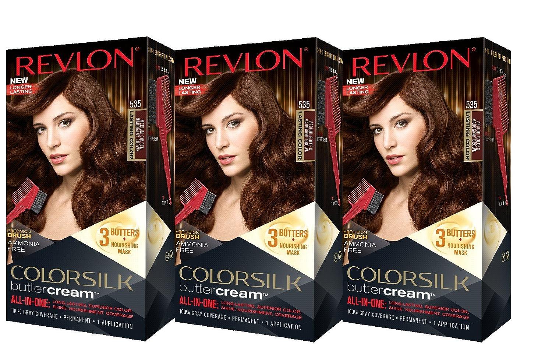 Revlon Colorsilk Buttercream Hair Dye, Medium Golden Mahogany Brown, 3 Count