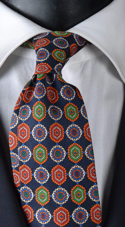 Corbata para hombre, estampado con siete pliegues azules con ...