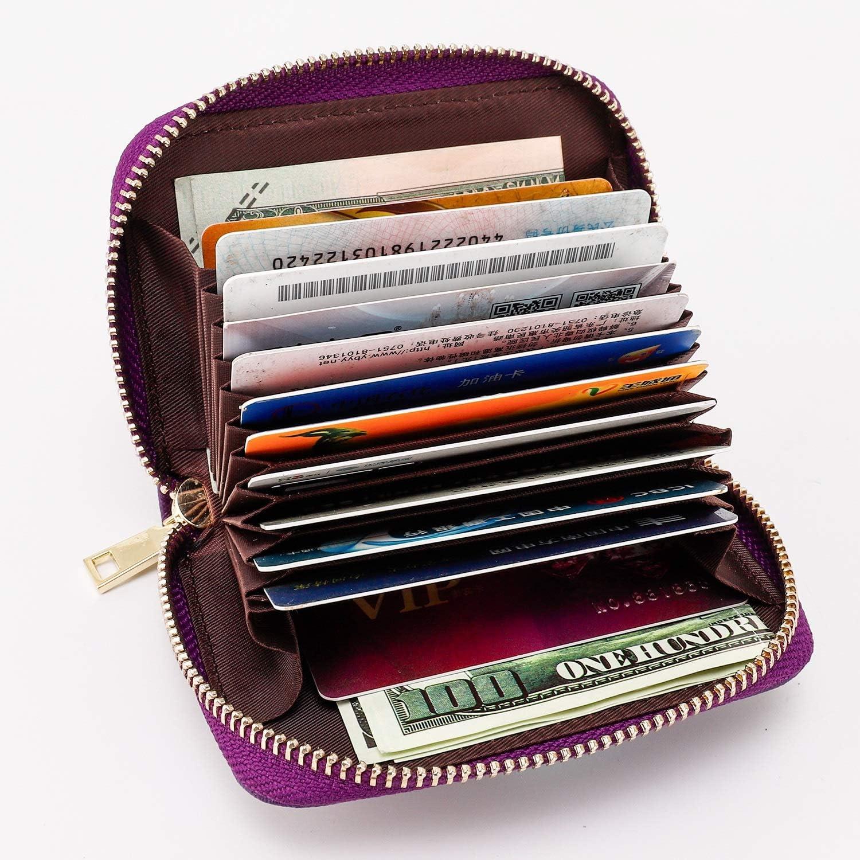 Noir Portefeuille en Cuir Zip Multi-usages Credit Porte Cartes pour Femmes et Hommes 12 Fentes pour Cartes RFID Blocage Porte Carte de Cr/édit Coffret Cadeau