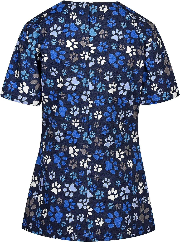 DINOZAVR Carina Uniforme Sanitario Camisa M/édica con Botones a presi/ón y Cuello en Y para Mujeres