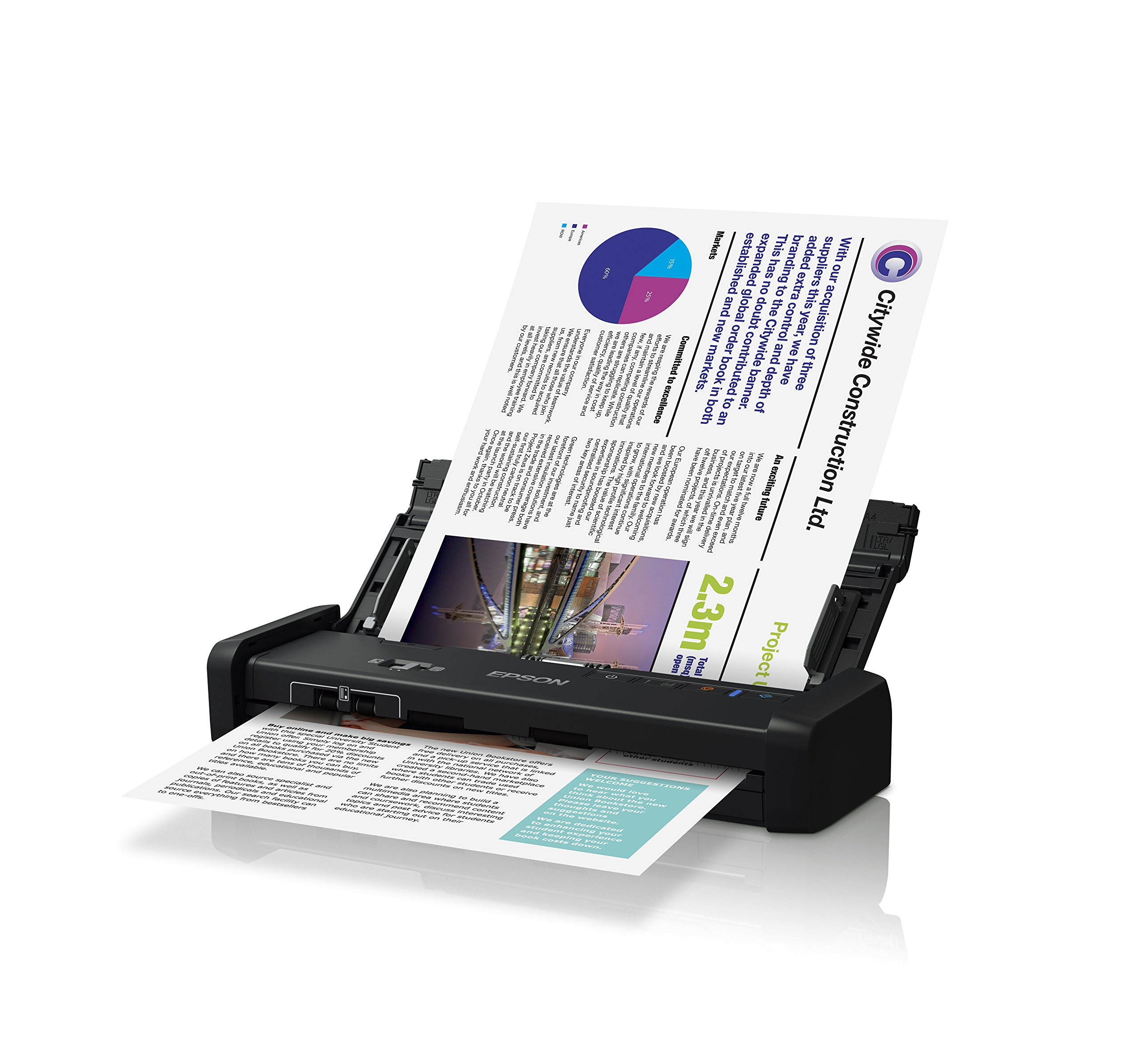 Epson DS-320 Mobile Scanner with ADF:  25ppm, TWAIN & ISIS Drivers, 3-Year Warranty