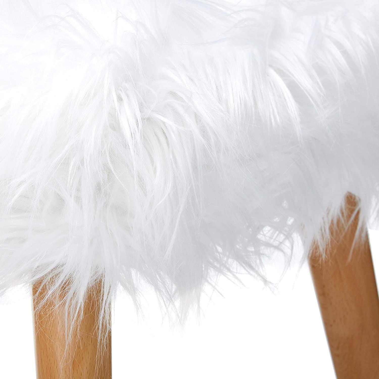 White Christopher Knight Home Living Hudson Mid-Century Faux Fur Ottoman