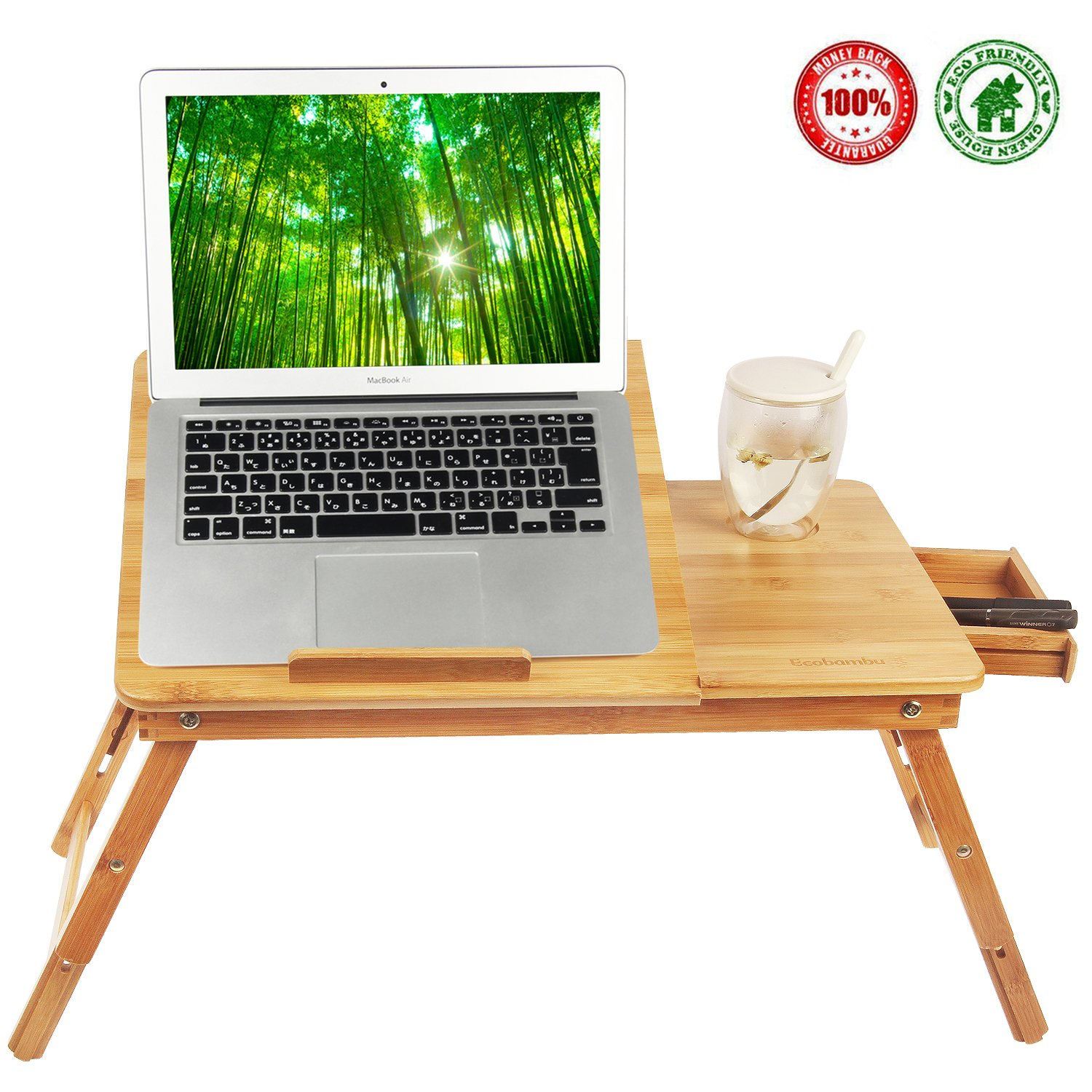 Laptop Desk Tray,Computer, Notebook, Ipad, Book Holder & Stand , Breakfast Serving Bed Tray, Adjustable & Foldable with Flip Top and Drawer, 100% Bamboo - by Ecobambu