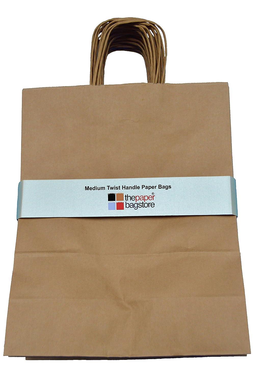 Thepaperbagstore 25 Bolsas De Papel Marrones con Asas Retorcidas Reciclables Y Reutilizables 250x110x310mm Medianas
