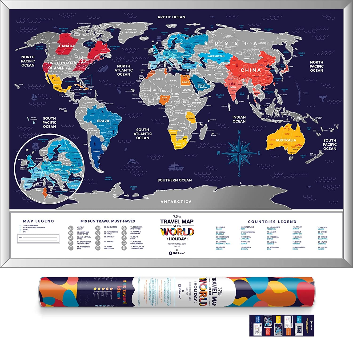 Large Scratch Off World Map - Premium Edition - 31.5 x 23.6 - Places I've Been Holiday World Map - Canadian Provinces Outlined - Laminated Paper Map by 1DEA.me HW