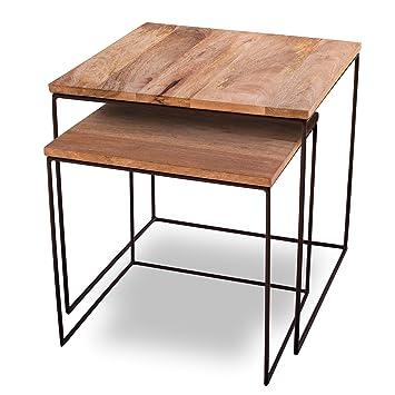 Kaloogo Beistelltisch 2er Set Mango Cubes Design Tische 44x44cm