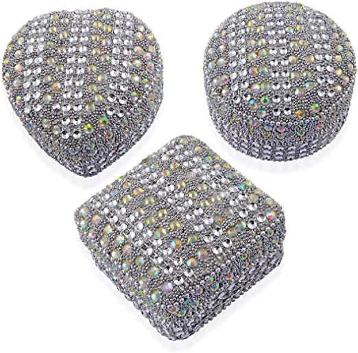 Handcrafted Set of 3 White Multi Color Beaded Dazzling Mini Storage Boxes