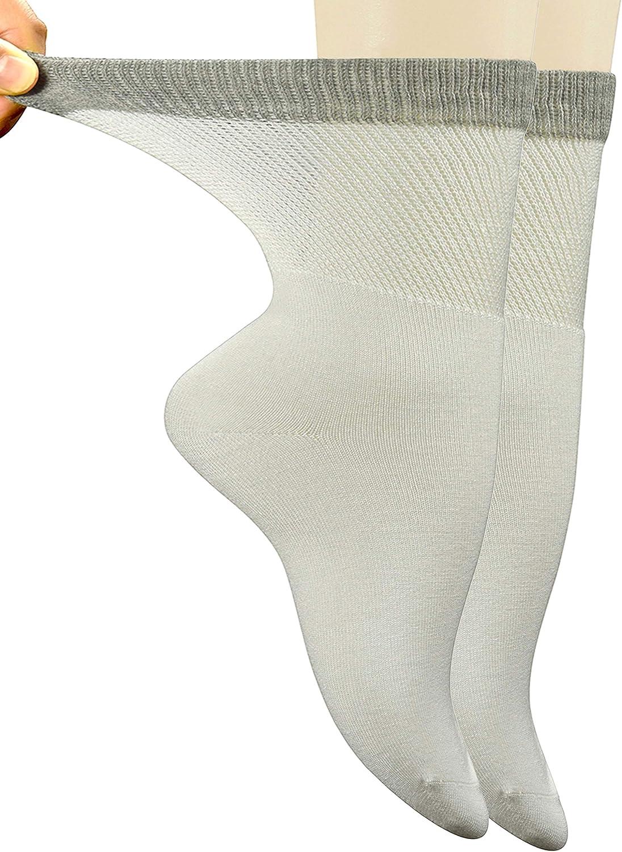 Jorbasado Bamboo Women's Dress Diabetic Socks with Seamless Toe,5 Pairs Size 9-11 (White): Health & Personal Care