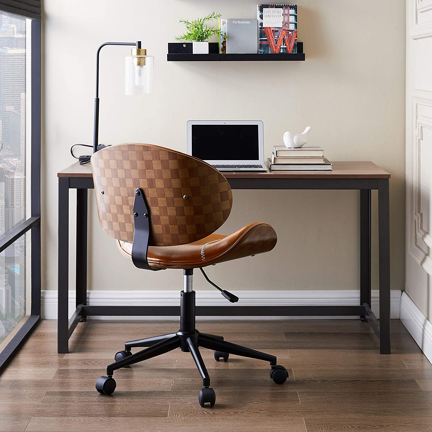 Volans mid Century Desk Chair, Modern Bentwood and Leather Swivel Task Chair with Wheels, Adjustable Height, Brown