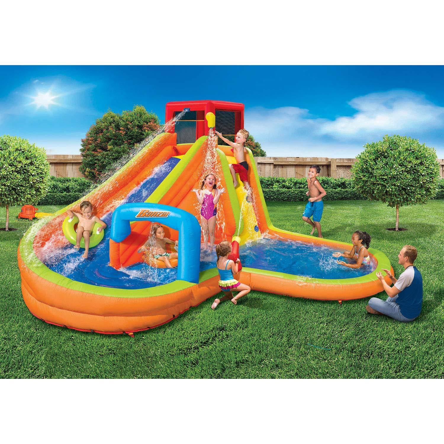 BANZAI Lazy River Inflatable Outdoor Adventure Water Park Slide and Splash Pool by BANZAI (Image #2)