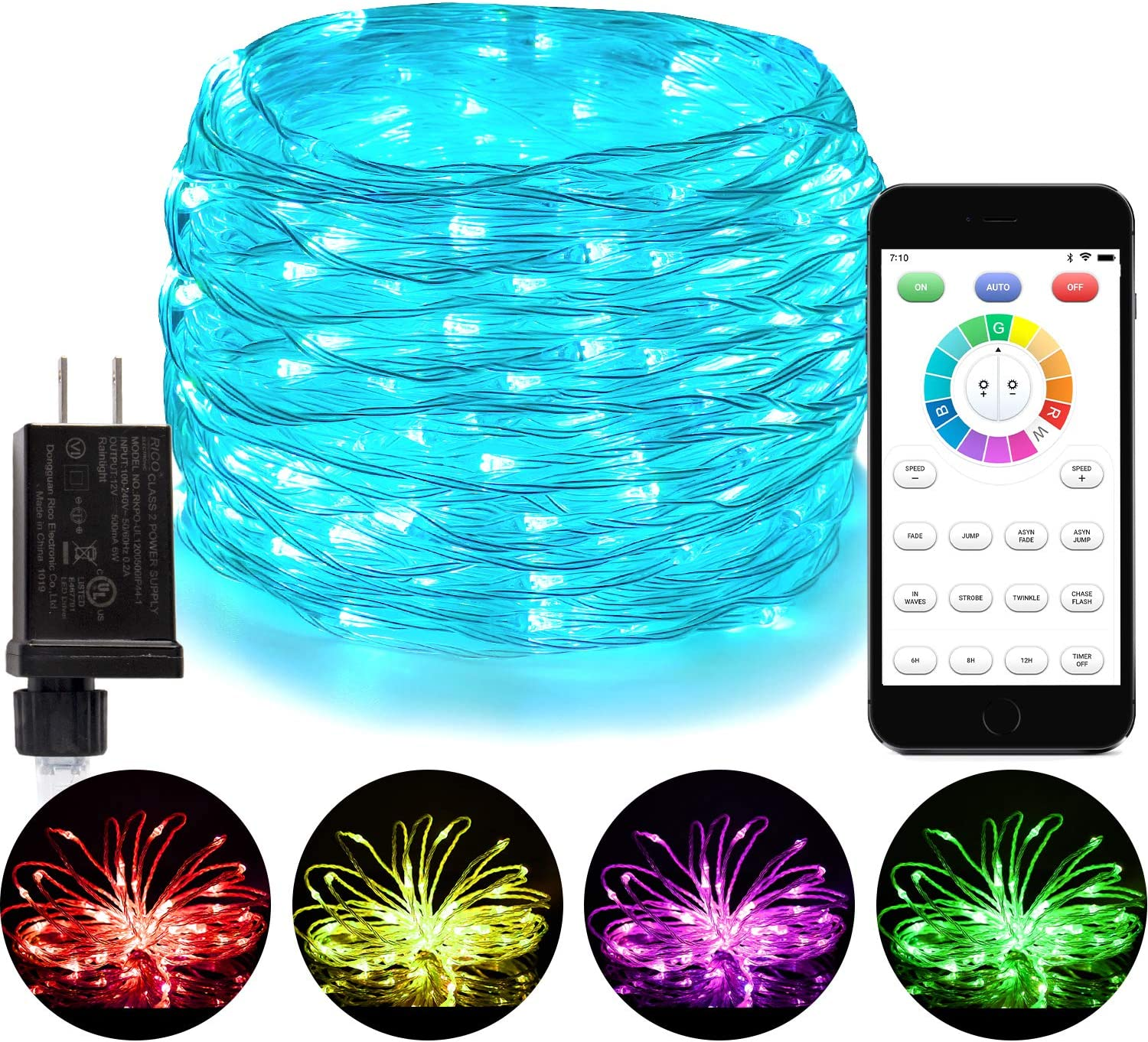 Amazon Com Blingstar Fairy Lights 16 Color Changing Christmas Lights 66ft 200 Led String Lights Plug In Waterproof Twinkle Lights App Controlled Clear Wire Lights With Timer For Bedroom Indoor Outdoor Decor Home