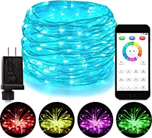 Blingstar Fairy Lights 16 Color Changing Christmas Lights 66Ft 200 LED String Lights Plug in Waterproof Twinkle Lights APP Controlled Clear Wire Lights with Timer for Bedroom Indoor Outdoor Decor