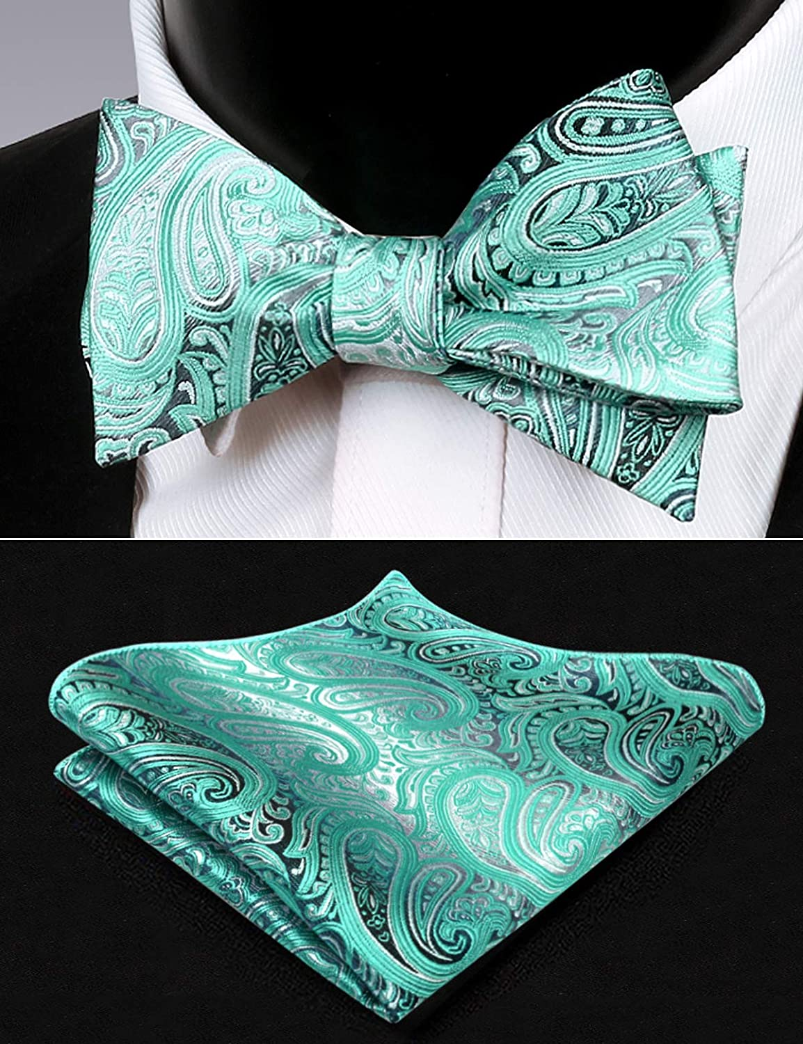 Alizeal Mens Gradient Paisley Self Tied Bow Tie and Pocket Square Set