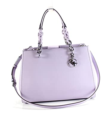 7f1af91ddde1d8 MICHAEL Michael Kors Cynthia Convertible Medium Leather Satchel - Light  Quartz: Handbags: Amazon.com