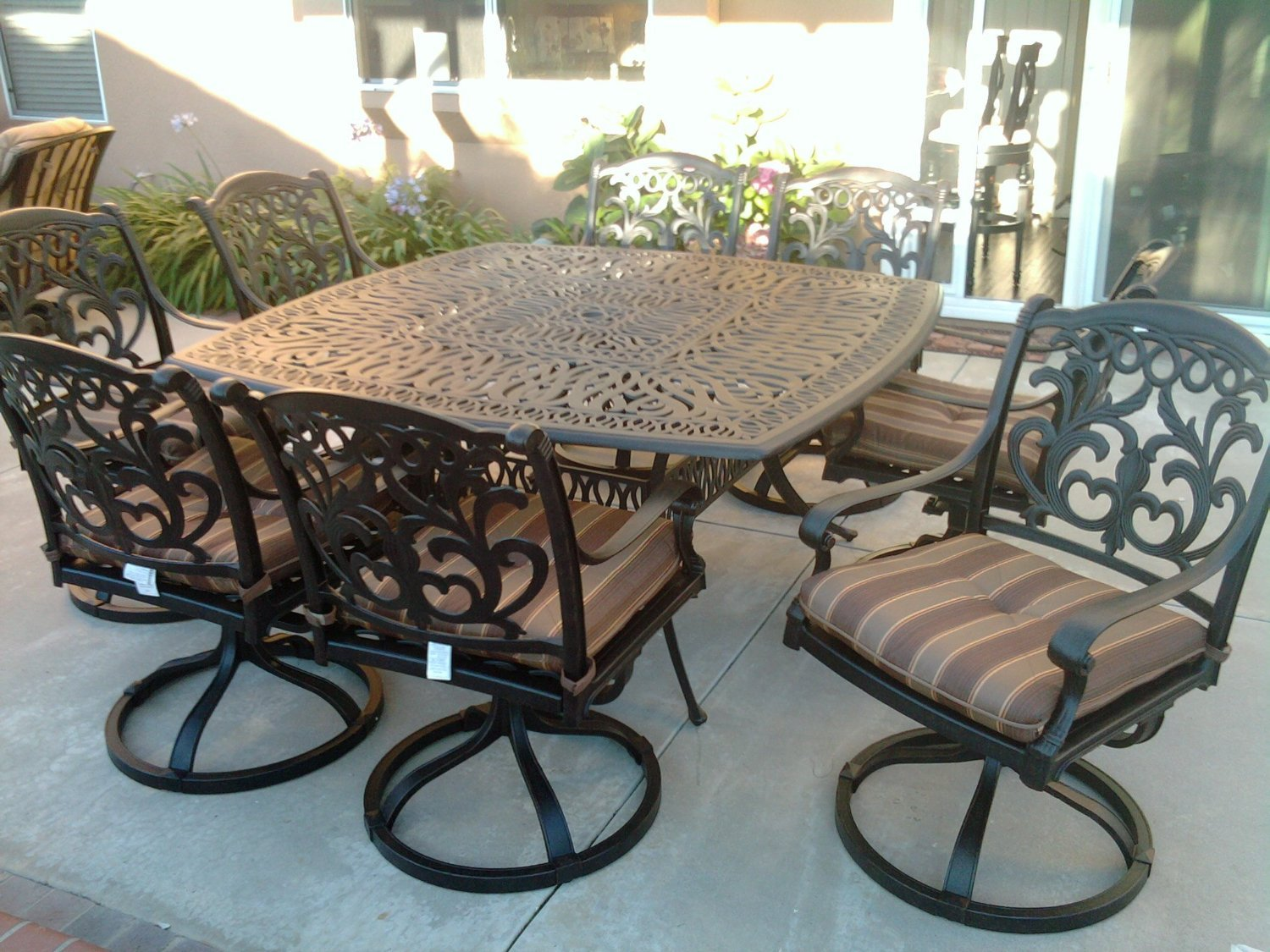 "Theworldofpatio Mandalay Cast Aluminum Powder Coated 9pc Outdoor Patio Set with 64""x64"" Square Table - Antique Bronze"