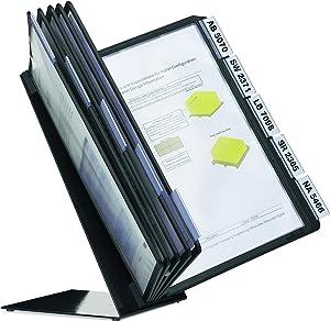 DURABLE Desktop Reference System, 10 Double-Sided Panels, Letter-Size, Black, Vario Design (552201)