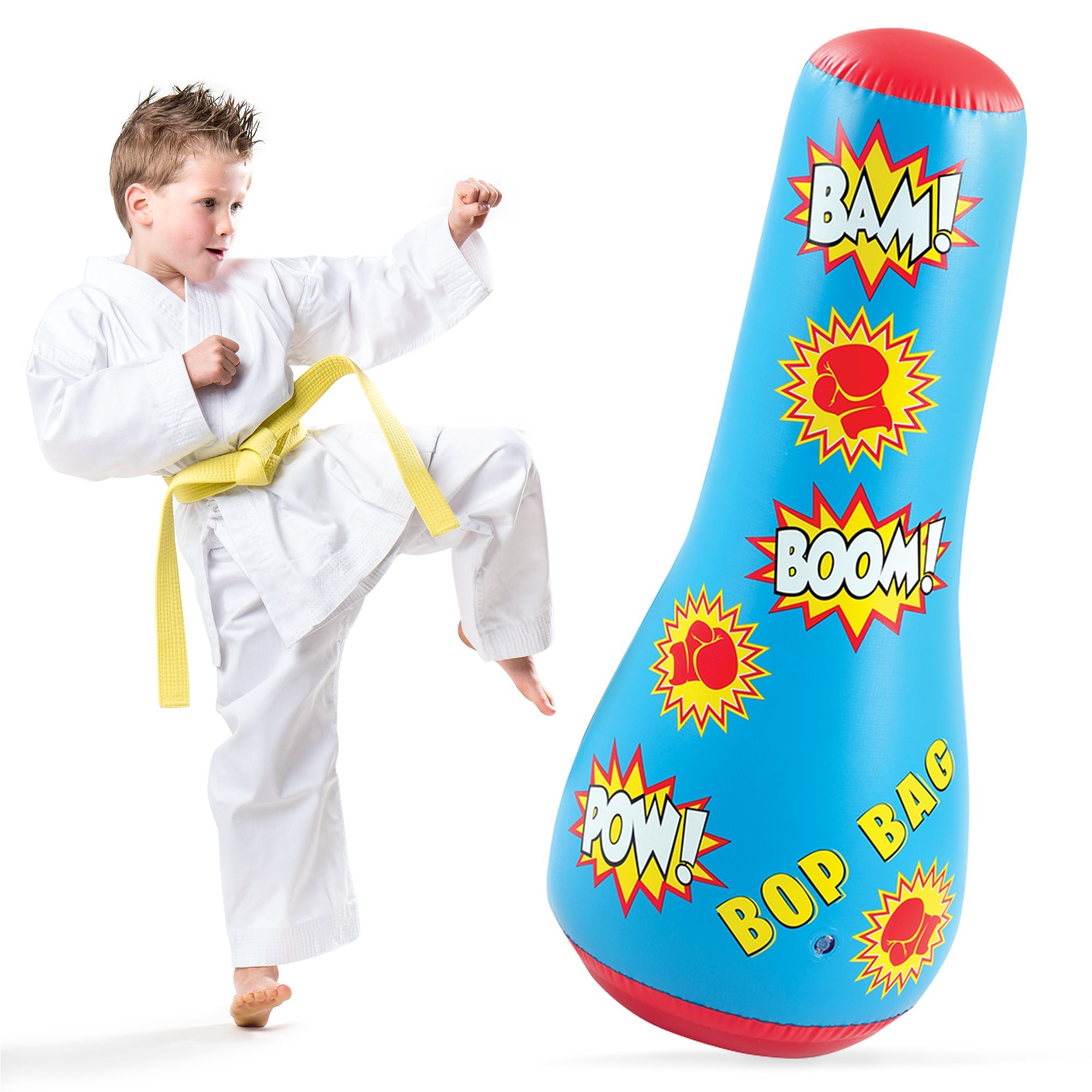 KLEEGER Inflatable Punching Bag For Kids: Giant Free Standing Boxing Toy For Children, Air Bop Bag For Boys & Girls, Exercise & Stress Relief