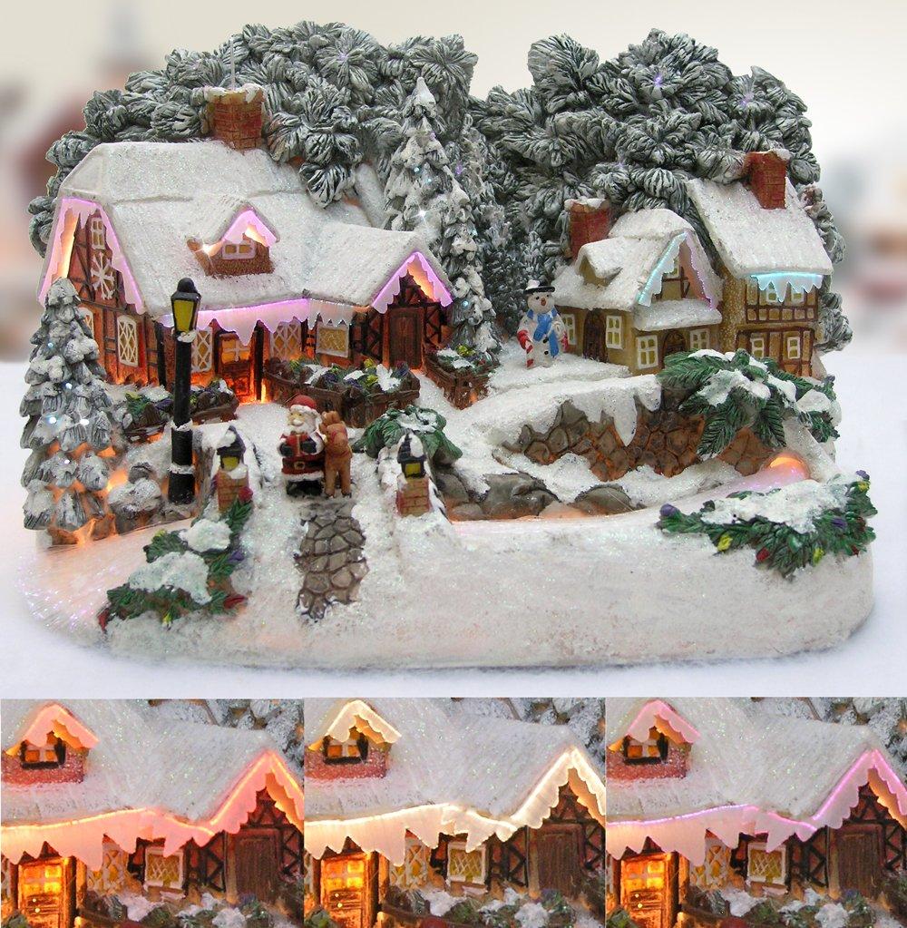 Amazon.com: Christmas Snow Village Santa and Reindeer LED Fiber ...
