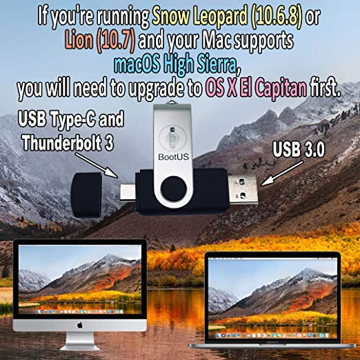 macOS High Sierra - Full OS Install - Reinstall/Recovery/Upgrade or Repair  Bootable Utility USB, USB Type-C/Thunderbolt 3 Drive