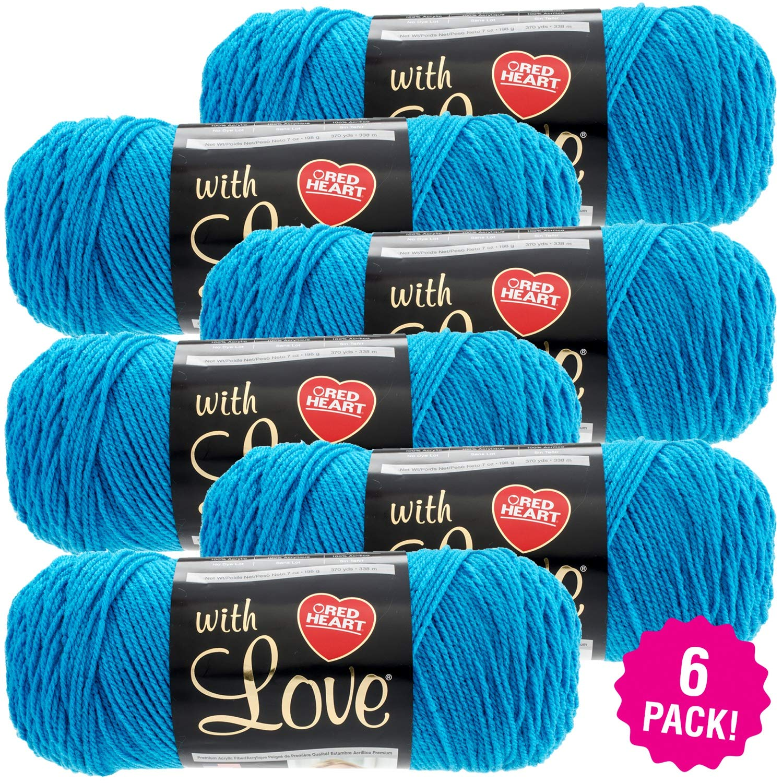 Red Heart 99360 Love Yarn-6/Pk-Blue, 6/Pk, Blue Hawaii 6 Pack