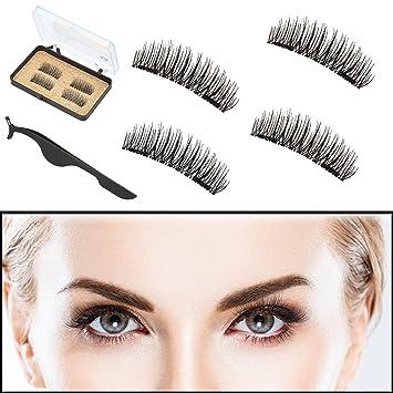 e1cc6d5f1ff Dual Magnetic Eyelashes, Reusable No Glue 3D Natural Look False Fake Lashes  with Applicator,