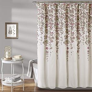 Lush Decor, Purple Weeping Flower Shower Curtain-Fabric Floral Vine Print Design, x 72 Gray
