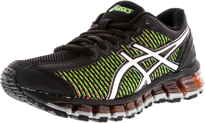 ASICS Gel-Quantum 360 cm GS Running Shoe (Little Kid/Big Kid), Black/White/Green Gecko, 1 M US Little Kid
