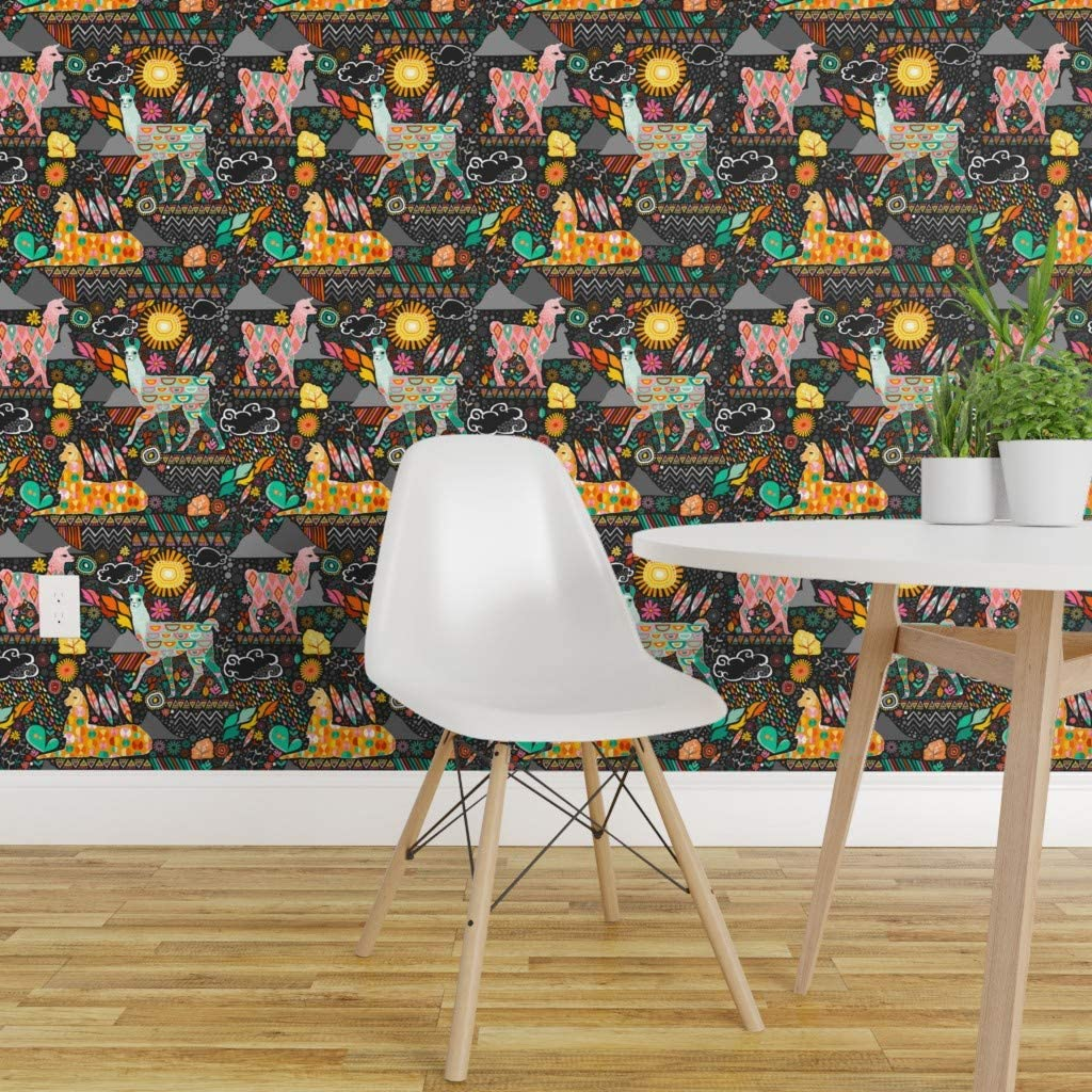 Spoonflower Peel And Stick Removable Wallpaper Llama Orange