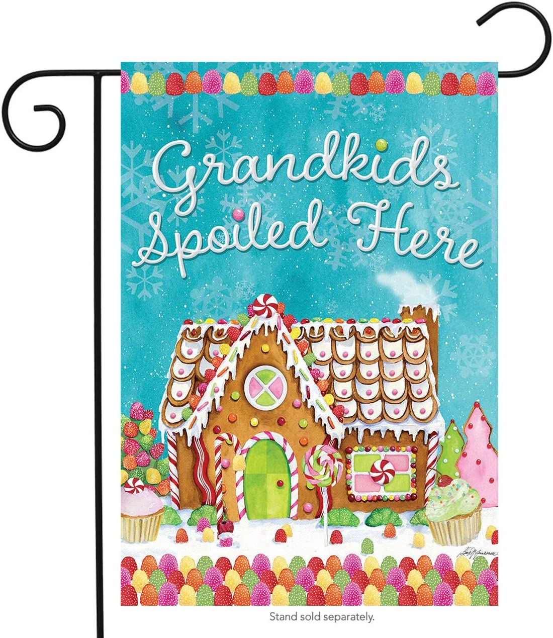 "Briarwood Lane Grandkids Spoiled Here Garden Flag Christmas Gingerbread House 12.5"" x 18"""