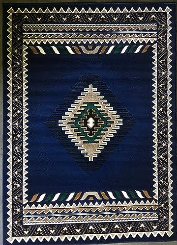 Kingdom Southwest Native American Area Rug Navy Blue Design D143 8 Feet X 10 Feet