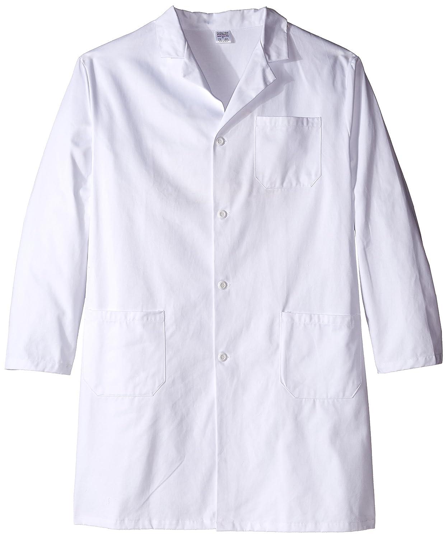 Worklon 420-56 100% Sanforized Cotton Heavyweight Twill Men's Knee Length Lab Coat, Button Front, White, 41' Length, Size 56 41 Length Thomas Scientific