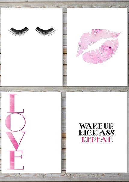 amazon com makeup print wall decor home decor wall art