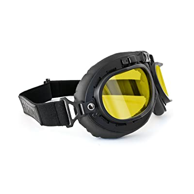 Bertoni Vintage Aviator Motorcycle Goggles - Mat Black - Anticrash Lenses AF195 Italy - Yellow Lens: Automotive