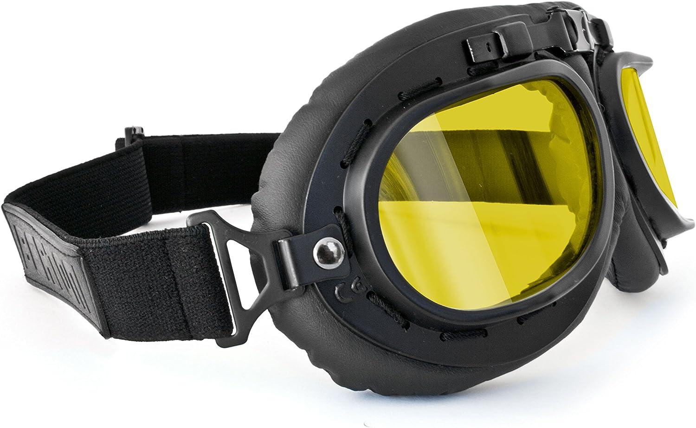 Bertoni Motorradbrillen Schutzbrillen Vintage Für Harley Und Chopper Schwarz Eco Leder Mod Af195 Schwarzes Leder Gelbe Linsen Auto