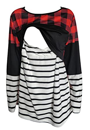 b8e07379336 Women's Breastfeeding and Nursing Long Sleeves red Buffalo Plaid Splicing  Striped Shirt Tops Clothes at Amazon Women's Clothing store: