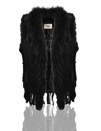940bfc03d24 Uilor Women s 100% Natural Knit Rabbit Fur Vest with Raccoon Fur Collar at  Amazon Women s Coats Shop