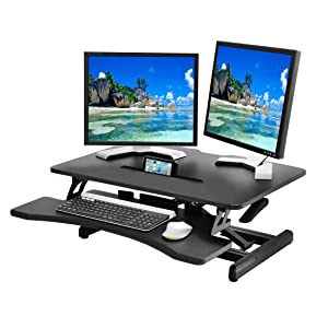 "Seville Classics WEB599 Airlift 30"" Compact Gas-Spring Height Adjustable Standing Desk Converter Workstation Ergonomic Dual Monitor Riser with Keyboard Tray Black"