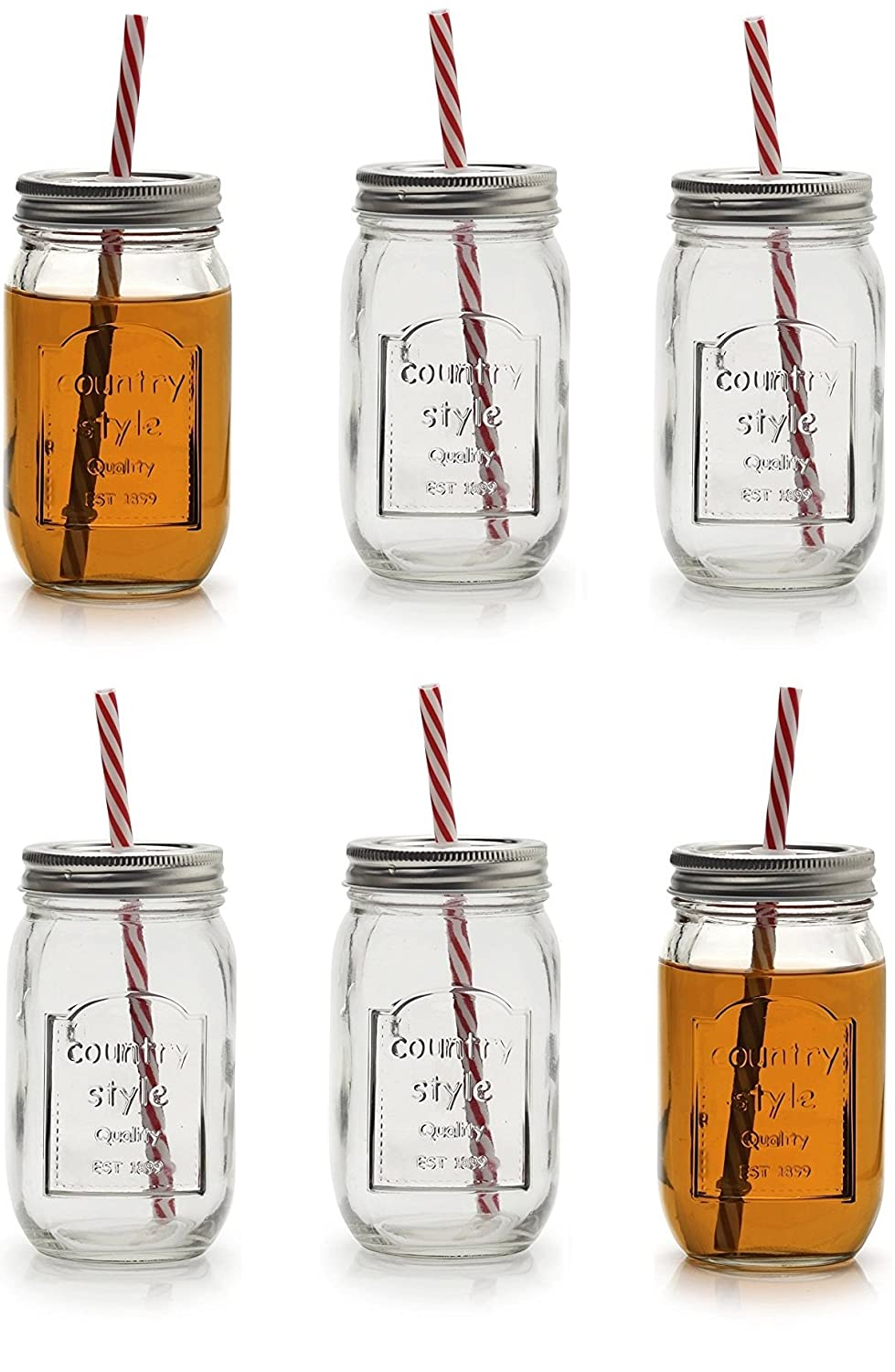 Circleware 67025 Country Mason Jar Mug Beverage Metal Lids & Straws Drinking Glass, 16 oz Chalkboard