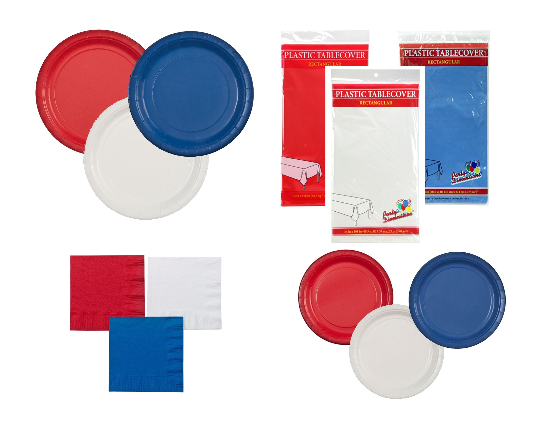 Party Dimensions Red, White, Blue Patriotic Party Bundle: 9'' Plates, 7'' Plates, Nakins, and Tablecloths
