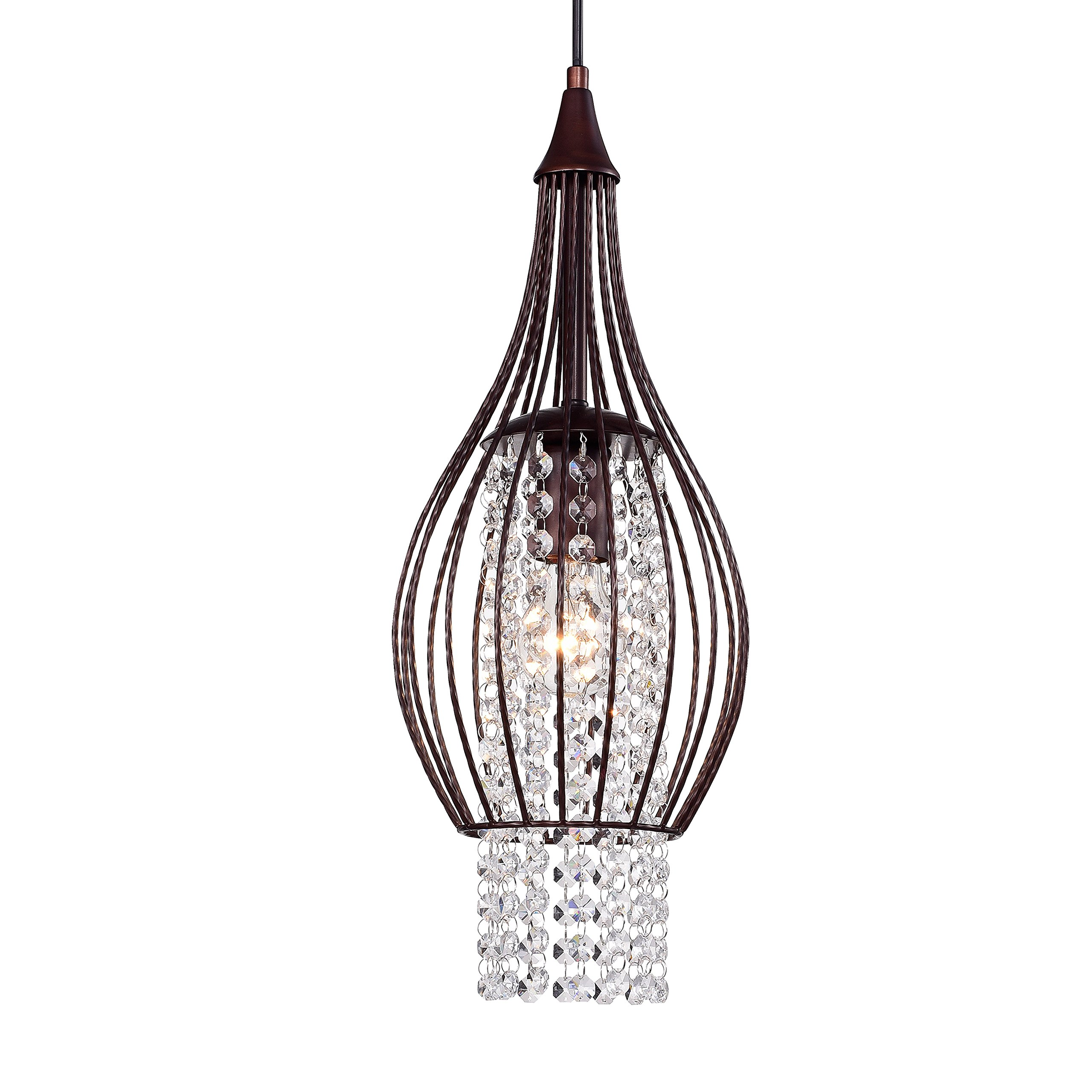 Chandelier Lighting 1 Light Rustic Bronze Crystal Chandelier