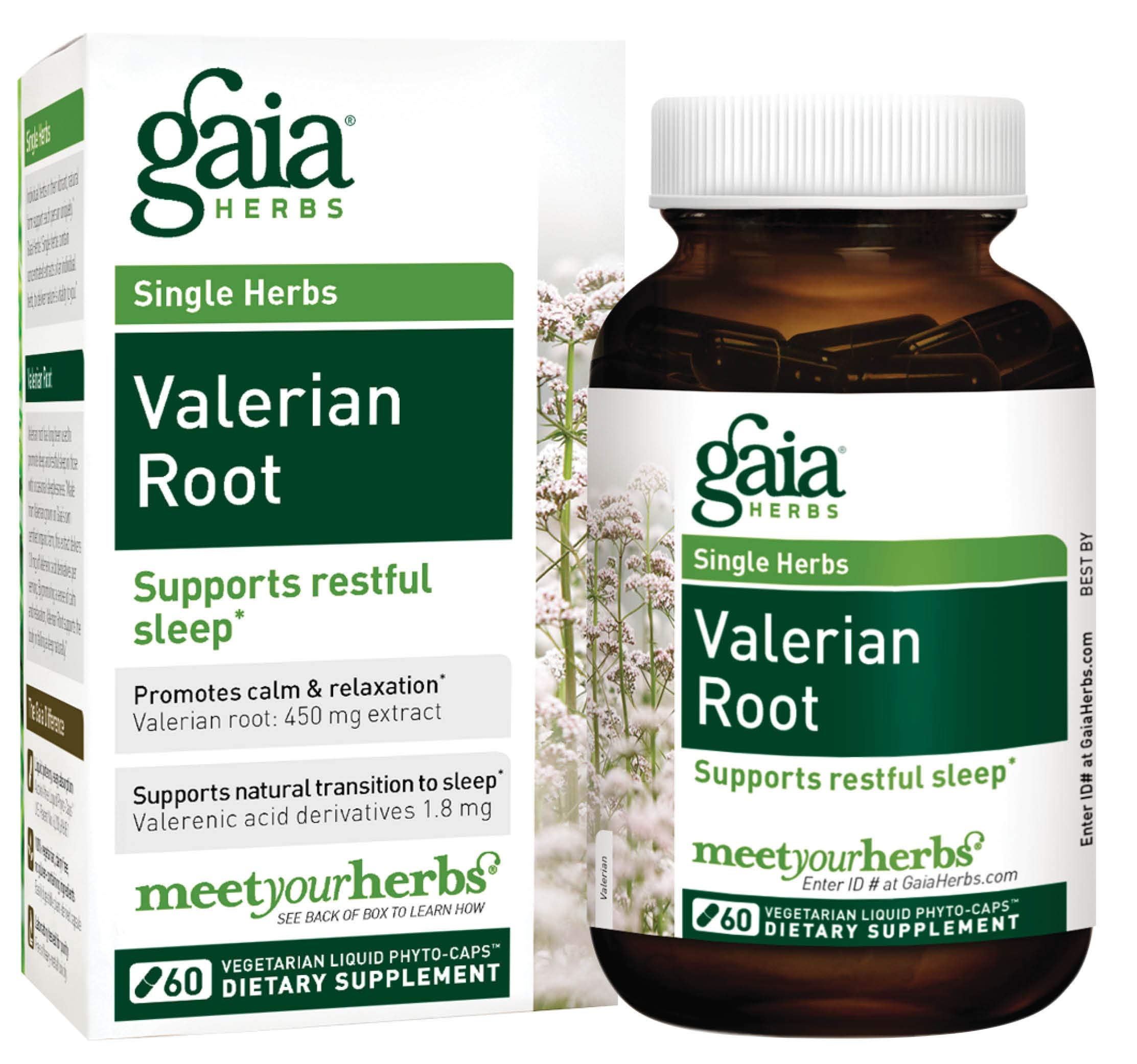 Gaia Herbs Valerian Root, Vegan Liquid Capsules, 60 Count - Relaxing Natural Sleep Aid with No Melatonin, Non-Habit Forming
