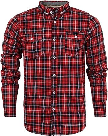 Camisa de leñador Brave Soul, para hombre, de algodón, franela, manga larga Cone | Red Black White Combo Small: Amazon.es: Ropa y accesorios