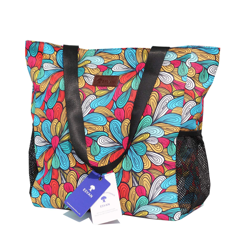 Original Floral Water Resistant Large Tote Bag Shoulder Bag for Gym Beach Travel Daily Bags Upgraded ([K] Pattern)