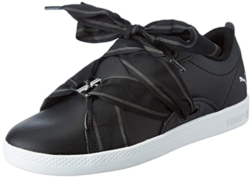 3a464f1ebae8 Puma Women s Smash WNS Buckle Black White Leather Sneakers-3 (36808101)