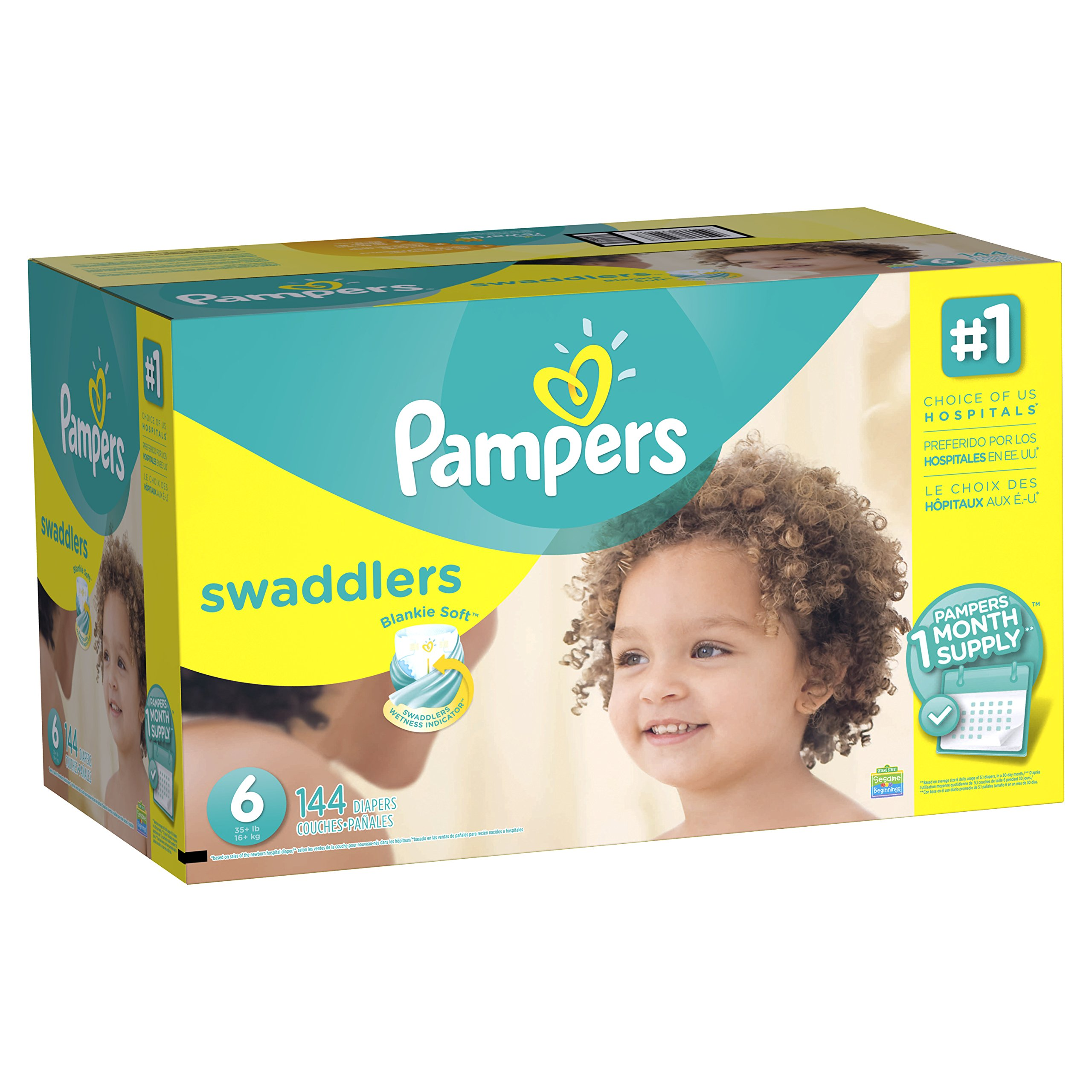 Pampers Swaddlers Disposable Diapers Size 6, 144 Count (Packaging May Vary)