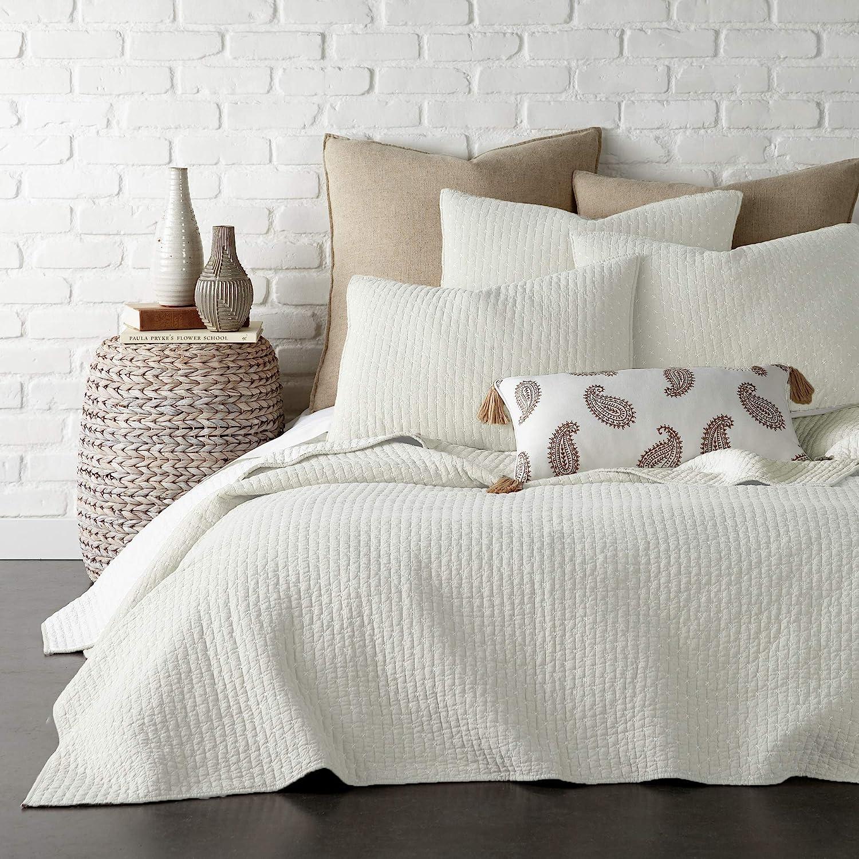 Levtex Home - Cross Stitch Quilt Set - 100% Cotton - King Quilt (106x92in.) + 2 King Shams (36x20in.) - Cream